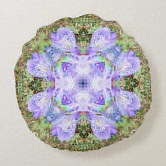 Mandala violet d'iris coussins ronds