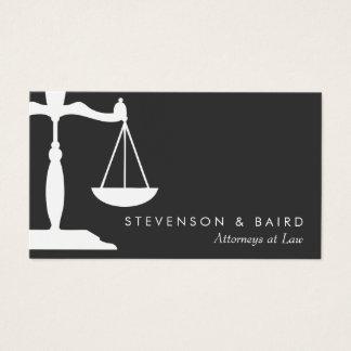 Mandataire d'échelle de justice noire et blanche cartes de visite