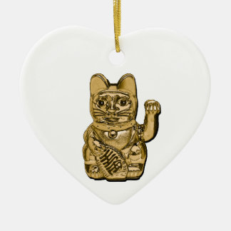 Maneki d'or Neko Ornement Cœur En Céramique