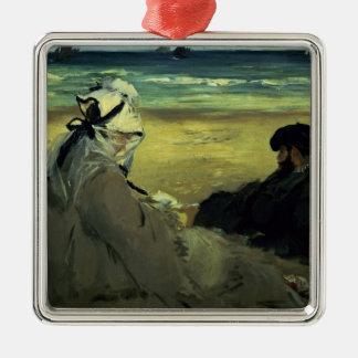 Manet | sur la plage, 1873 ornement carré argenté