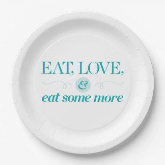 Mangez, aimez et mangez encore plus assiette en papier 22,8 cm