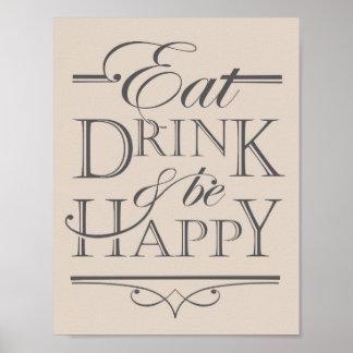 Mangez, boisson et soyez conception heureuse posters