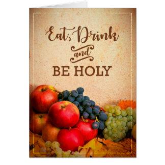Mangez, boisson et soyez festin saint de carte de