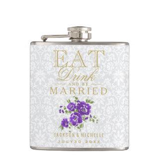 Mangez, boisson et soyez marié - floral pourpre flasques