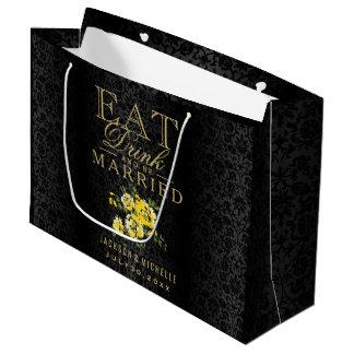 Mangez, boisson et soyez marié - jaune et noir grand sac cadeau