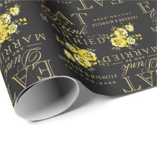 Mangez, boisson et soyez marié - jaune et noir papier cadeau