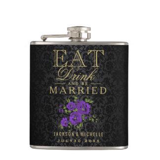 Mangez, boisson et soyez marié - pourpre et noir flasques