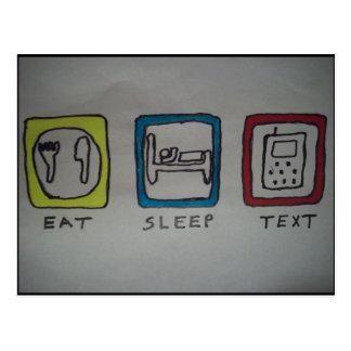 mangez, dormez, carte de service de mini-messages