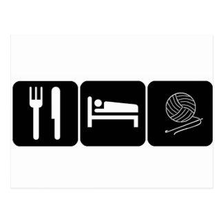 Mangez, dormez, faites du crochet carte postale