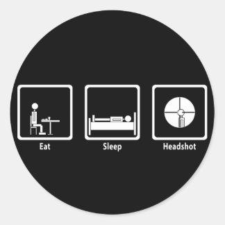 Mangez, dormez, Headshot - Gamer de FPS Sticker Rond