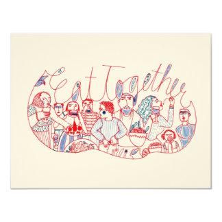 Mangez ensemble carton d'invitation 10,79 cm x 13,97 cm
