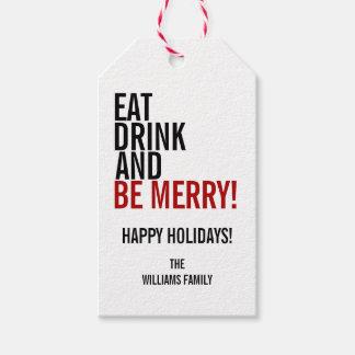 Mangez la boisson et soyez étiquette de cadeau de