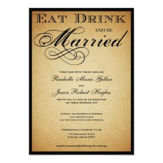 Mangez la boisson et soyez faire-part de mariage