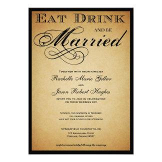 Mangez la boisson et soyez faire-part de mariage m