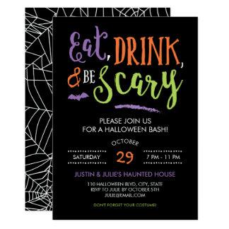 Mangez la boisson et soyez invitation effrayante