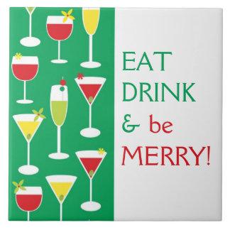Mangez la boisson et soyez joyeux grand trépied de carreaux