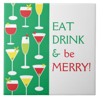 Mangez la boisson et soyez joyeux grand trépied de grand carreau carré