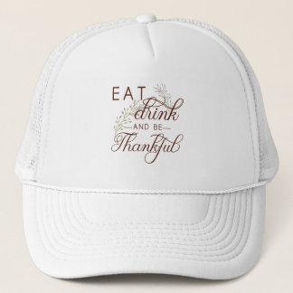mangez la boisson et soyez reconnaissant casquette
