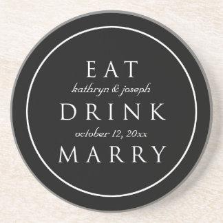 MANGEZ LA BOISSON MARIENT le mariage fait sur comm Dessous De Verres
