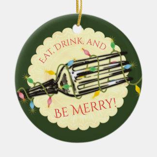 Mangez la boisson soit joyeux ornement de Noël de