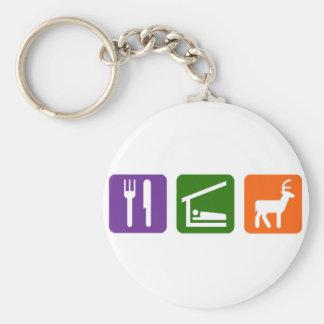 Mangez la chasse de sommeil porte-clé rond