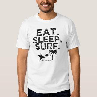 Mangez la chemise des hommes de surf de sommeil t-shirts