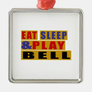 Mangez la CLOCHE de sommeil et de jeu Ornement Carré Argenté