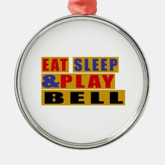 Mangez la CLOCHE de sommeil et de jeu Ornement Rond Argenté