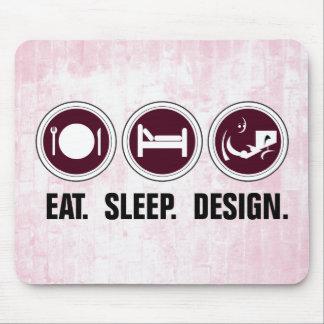 Mangez la conception de sommeil (le rose) tapis de souris