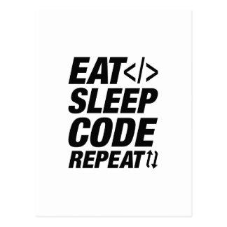 Mangez la répétition de code de sommeil carte postale