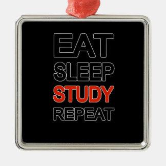 Mangez la répétition d'étude de sommeil ornement carré argenté