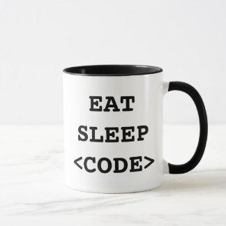 Mangez la tasse de café de code de sommeil pour