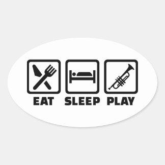 Mangez la trompette de jeu de sommeil sticker ovale