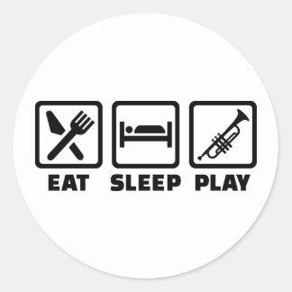 Mangez la trompette de jeu de sommeil adhésifs ronds