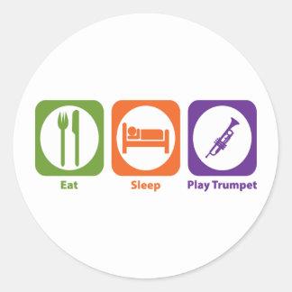 Mangez la trompette de jeu de sommeil adhésif rond