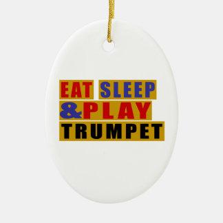 Mangez la TROMPETTE de sommeil et de jeu Ornement Ovale En Céramique