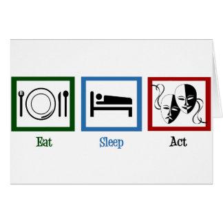Mangez l'acte de sommeil carte de vœux