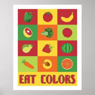 Mangez l'affiche de fruits et légumes de couleurs poster