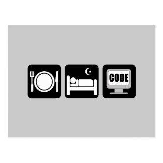 mangez le code de sommeil carte postale