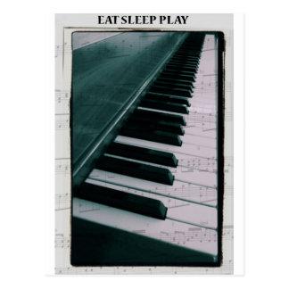 Mangez le jeu de sommeil (le piano) carte postale