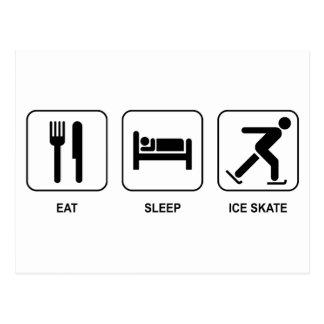 Mangez le patin de glace de sommeil carte postale