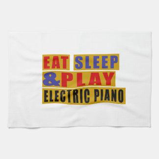 Mangez le PIANO ÉLECTRIQUE de sommeil et de jeu Linges De Cuisine