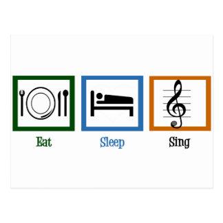Mangez le sommeil chantent cartes postales
