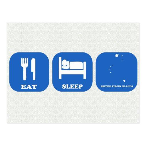 Mangez le sommeil Îles Vierges britanniques Cartes Postales