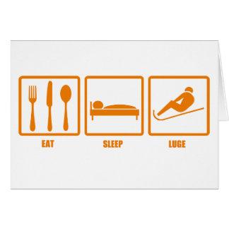 Mangez le sommeil Luge Carte De Vœux