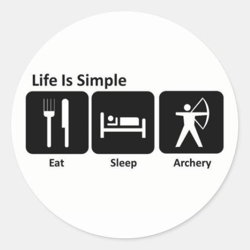 Mangez le tir à l'arc de sommeil adhésifs ronds