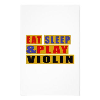Mangez le VIOLON de sommeil et de jeu Papier À Lettre Personnalisable