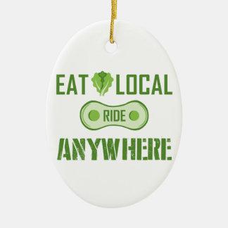 Mangez les gens du pays, tour n'importe où ornement ovale en céramique