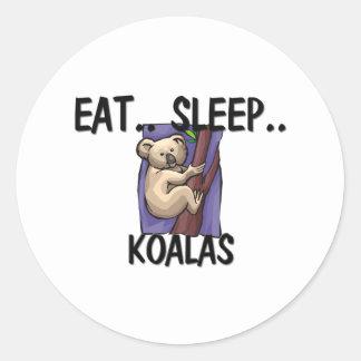 Mangez les KOALA de sommeil Sticker Rond