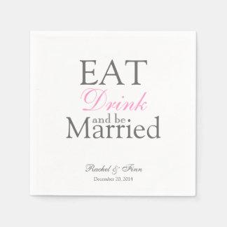 Mangez n soit serviette mariée de cocktail serviettes en papier